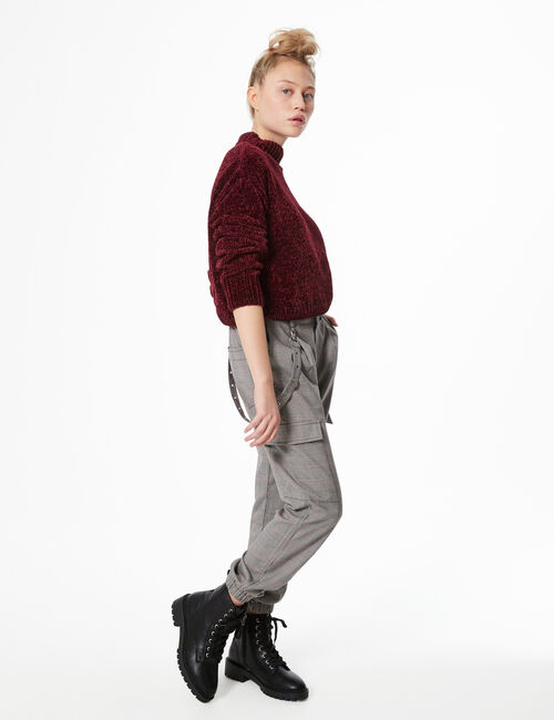 Glen check cargo trousers