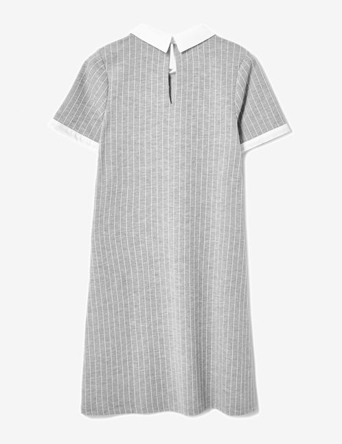 Grey marl and white striped dress with white collar detail