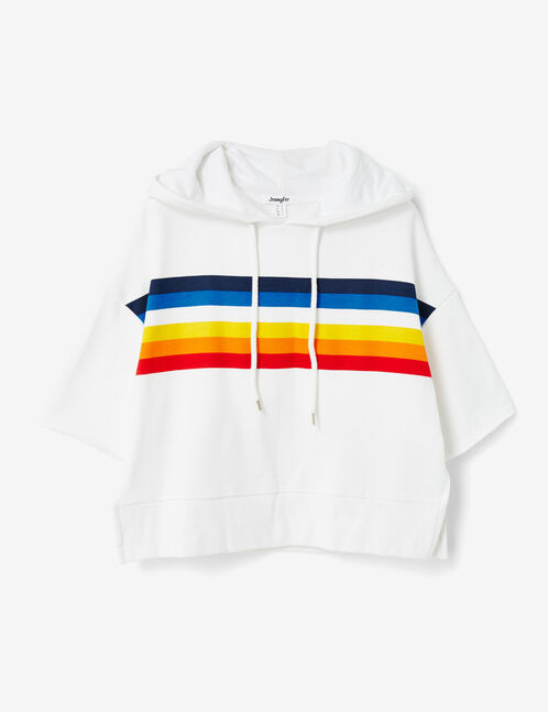 Cream hoodie with stripe detail
