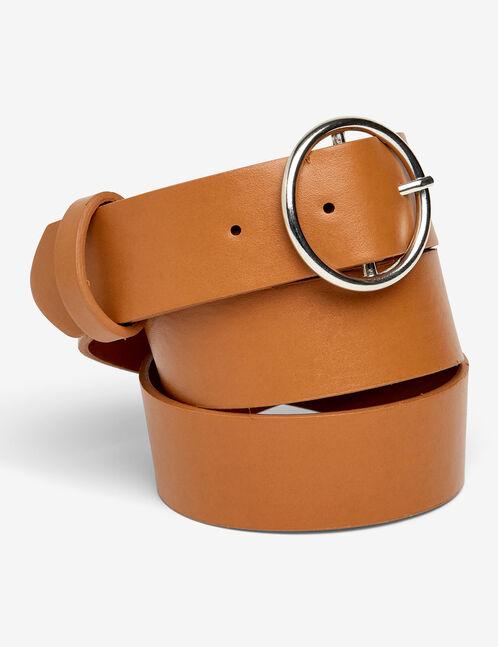 ceinture boucle ronde marron