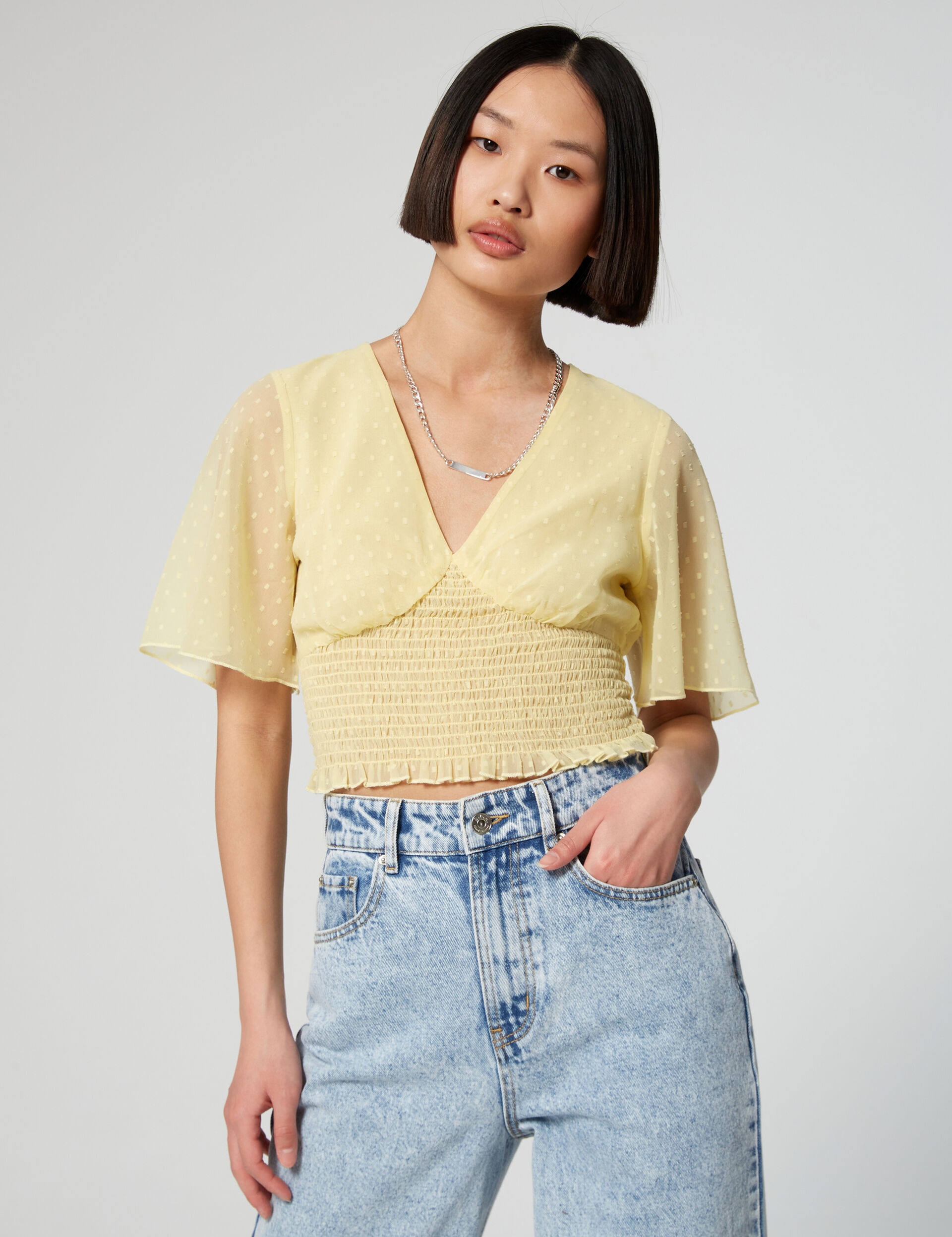 Smocked cropped top