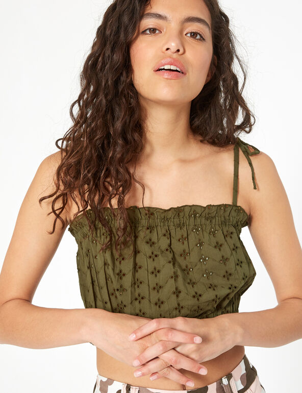 Crop top broderie anglaise