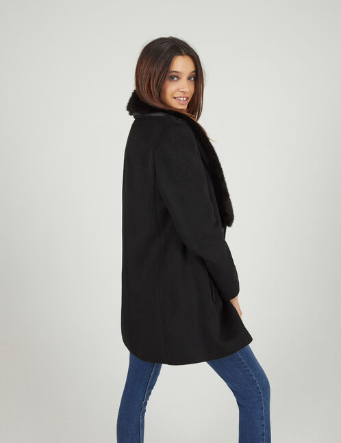 Black pea coat with faux fur detail