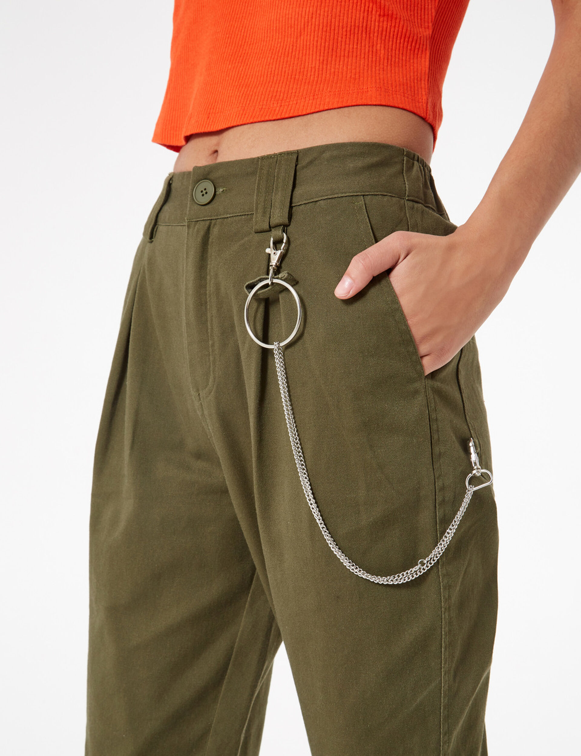 Pantalon cargo avec chaîne