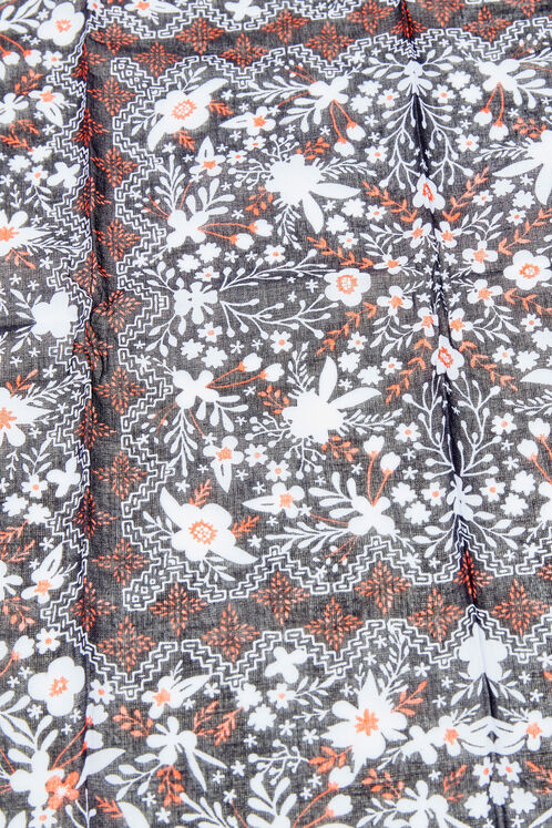 foulard carré fleuri noir