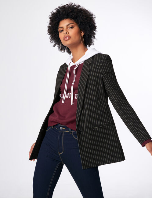 Black and white pinstripe blazer
