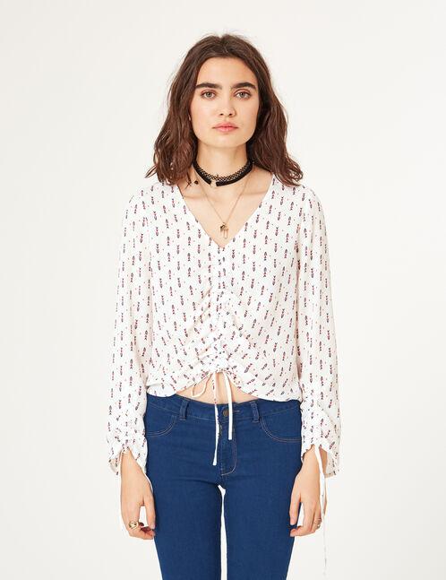 blouse avec fronces écrue