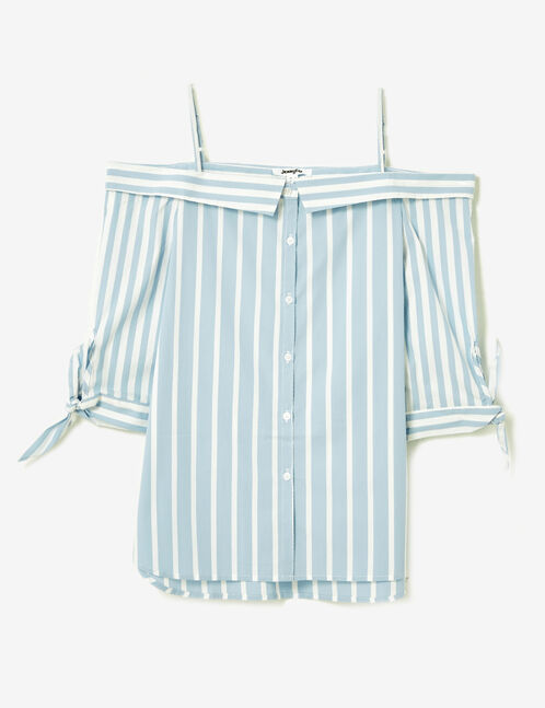 chemise épaules dénudées bleue et blanche