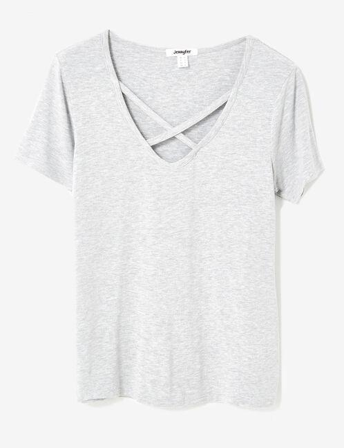tee-shirt avec liens gris chiné