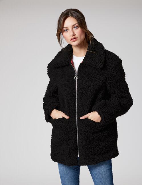 veste imitation fourrure noire