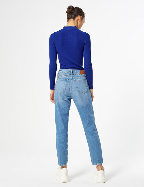 Mom jeans with chain detail