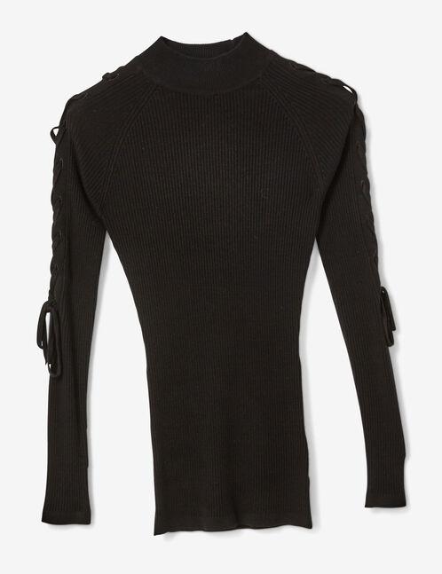 pull côtelé avec laçages noir