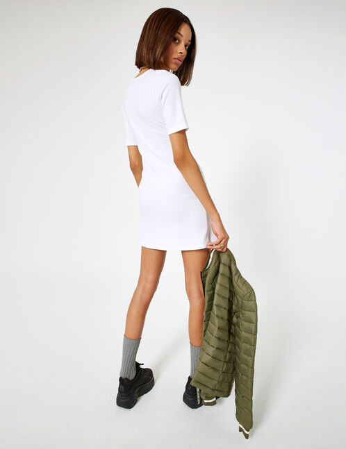 Cream ribbed buttoned dress