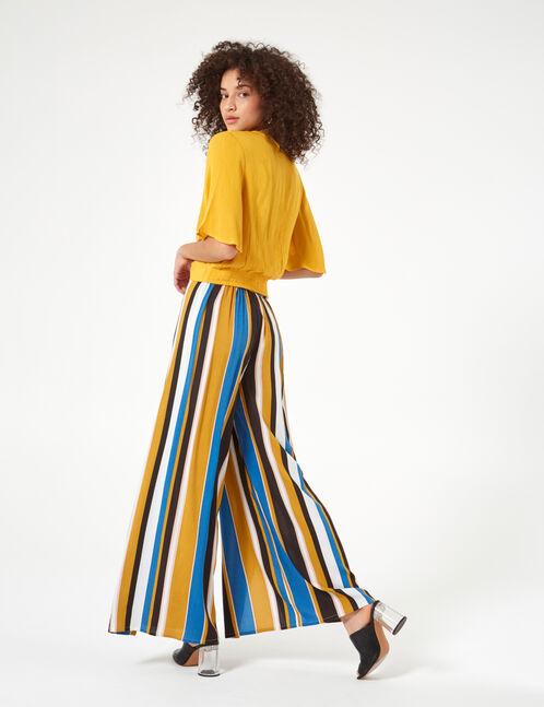 pantalon fluide rayé bleu, ocre, beige et noir