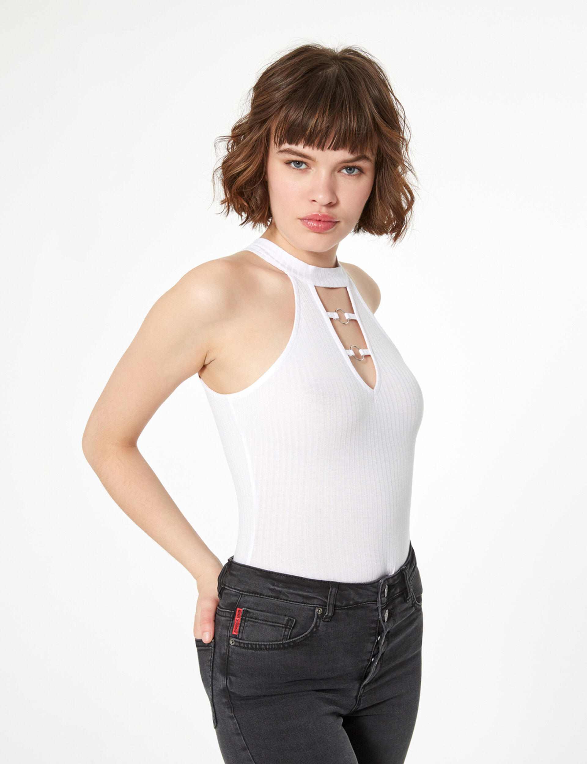 Ribbed bodysuit with rings
