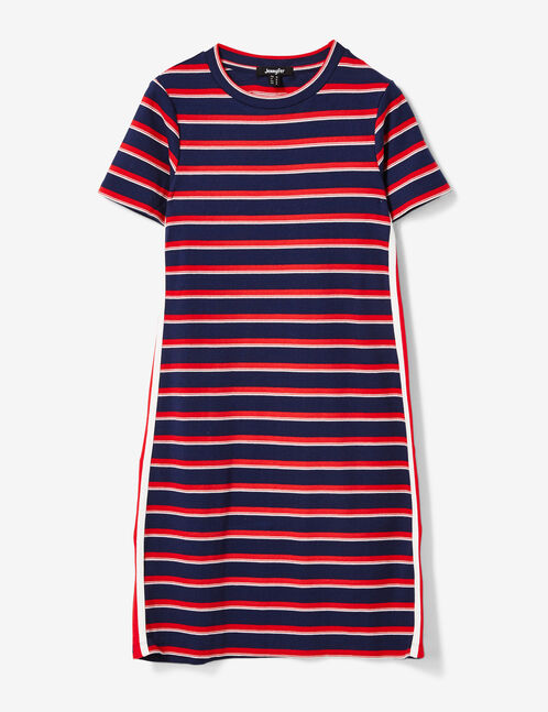 Navy blue, red and cream dress with side stripe detail