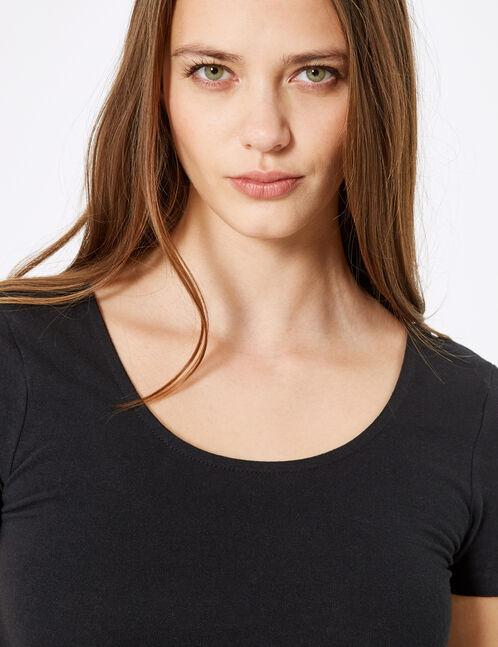 Black deep-neck bodysuit