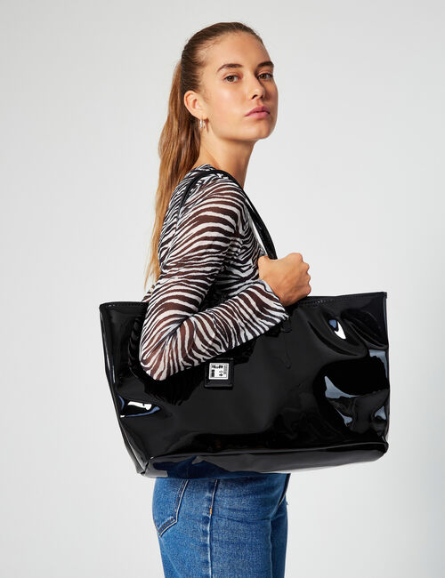 Imitation patent leather shopping bag