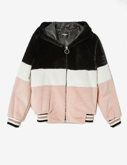 veste fausse fourrure rose clair, blanche et noire