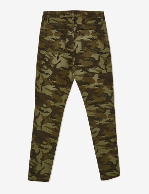 Khaki embroidered camouflage trousers