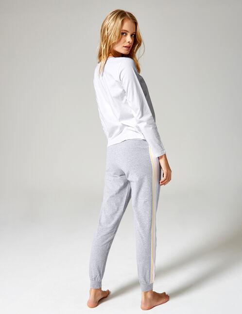 set pyjama long blanc, gris, rose clair et bleu clair