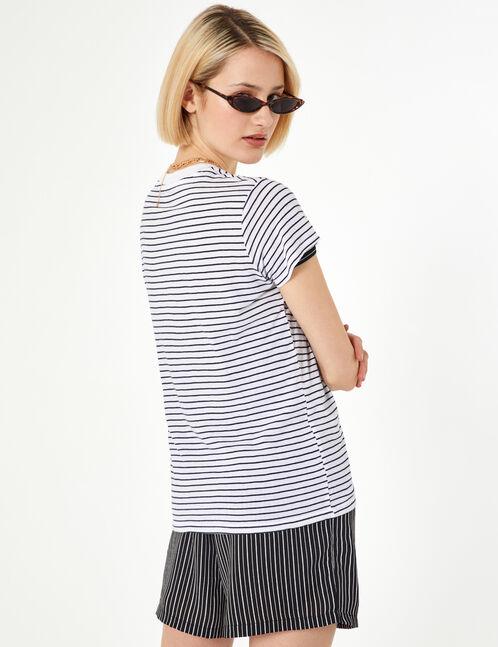tee-shirt basic rayé blanc et noir