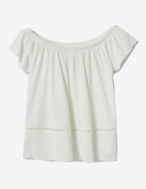 Cream crêpe T-shirt
