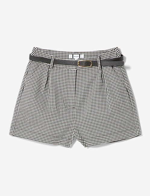 Black and white gingham belted shorts