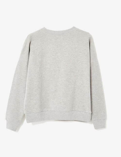 Grey marl sweatshirt with text design and beading details