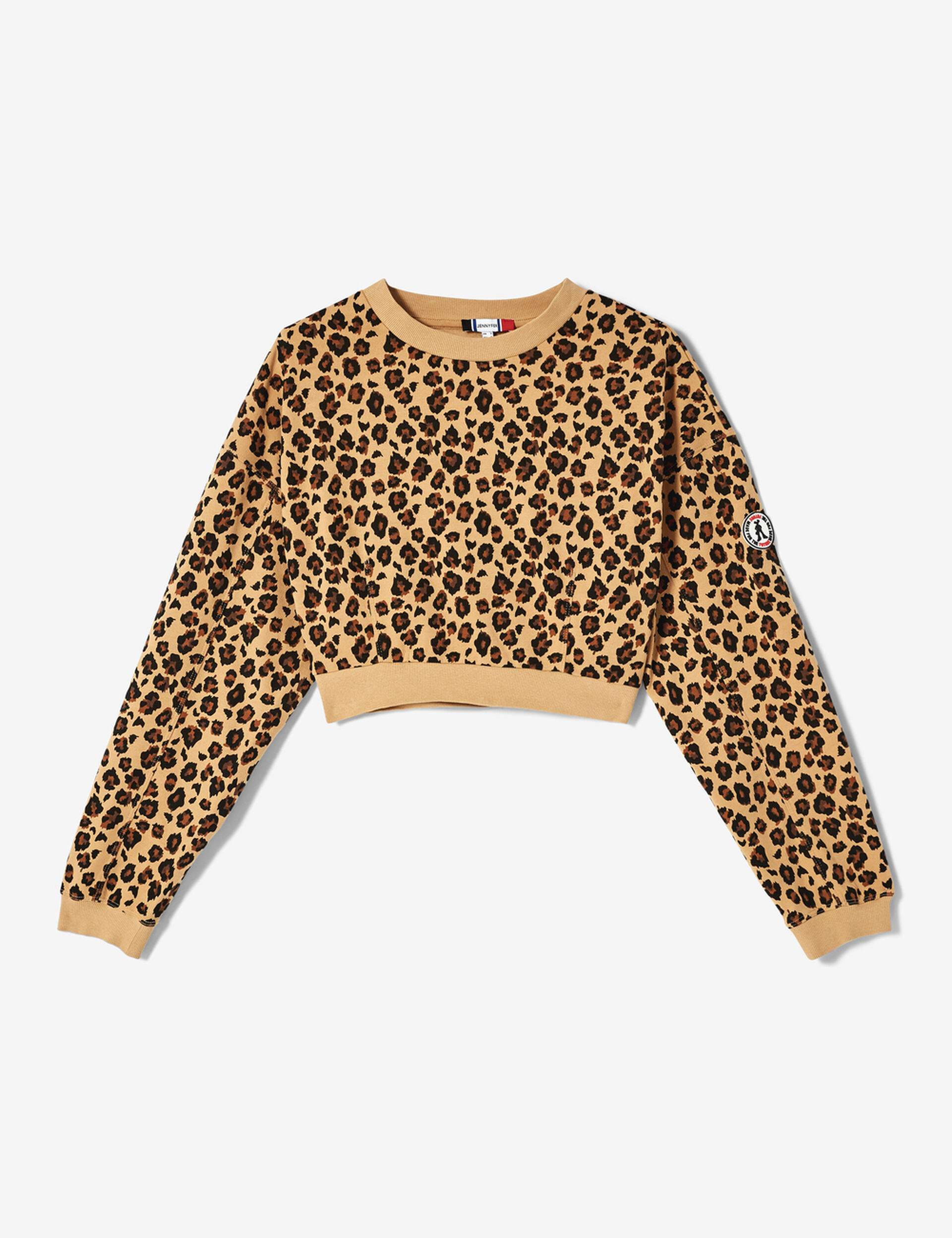 Cropped beige, brown and black leopard print sweatshirt