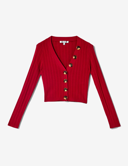 Short red buttoned cardigan