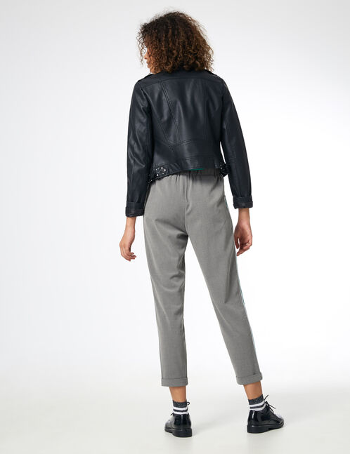 Grey marl and green trousers with side stripe detail