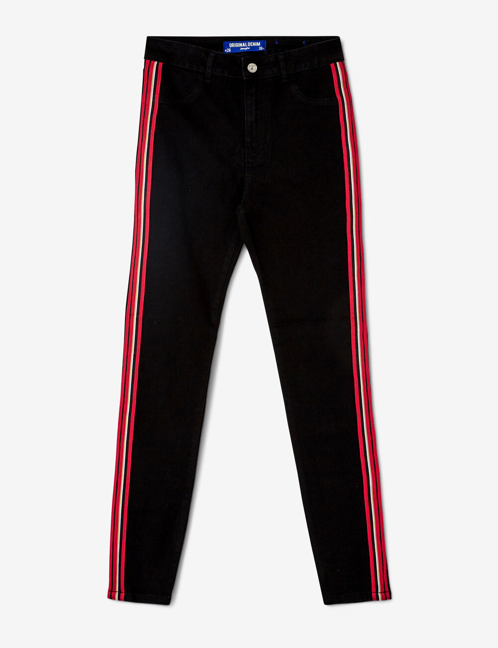 a6ef90b137e23 Black, red and white jeggings with striped trim detail woman • Jennyfer