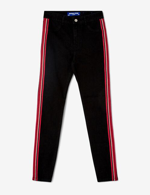 jegging avec bandes rayées noir, rouge et blanc