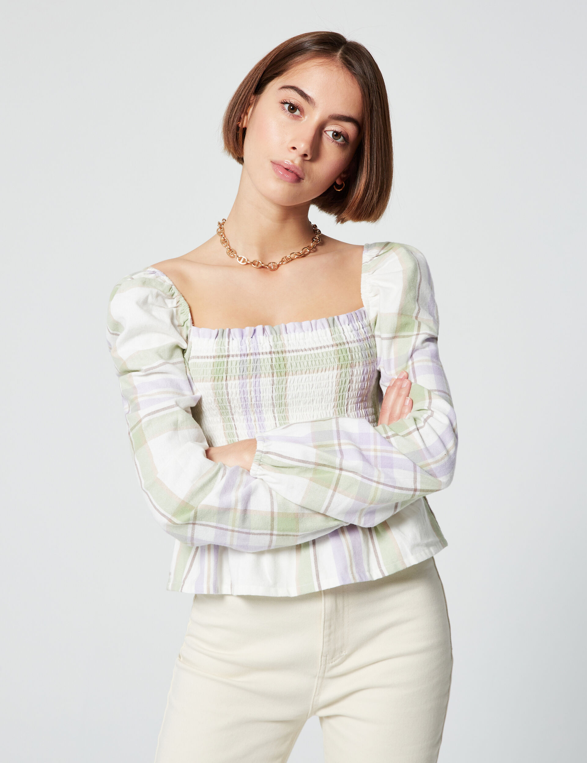 Smocked checked top