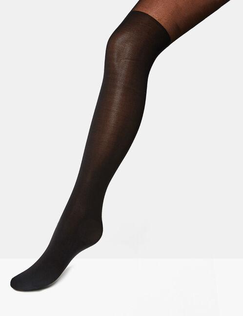 Black mock over-knee tights