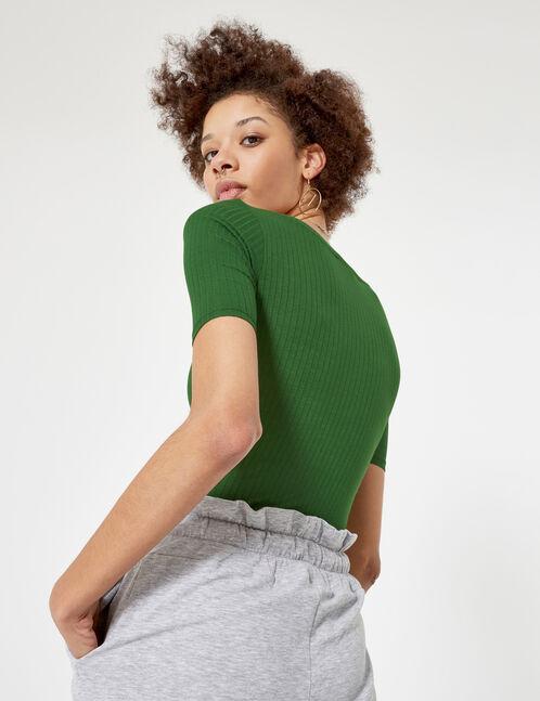 body avec boutons vert