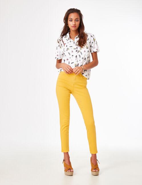 pantalon taille haute à cut ocre