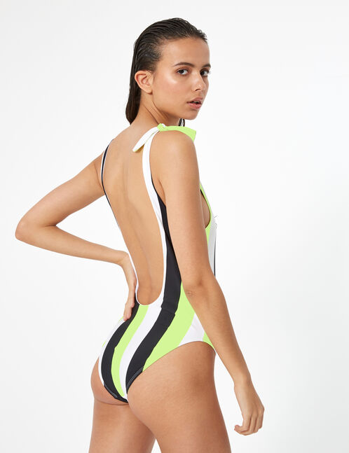 Black, white and neon yellow striped swimsuit