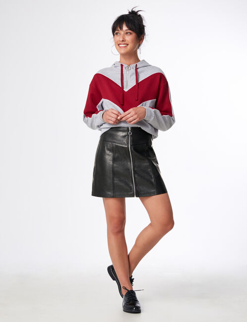 Black skirt with seam and zip detail