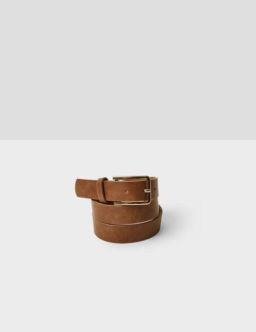 ceinture boucle carrée camel