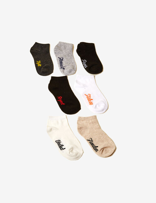 Black, grey, white and beige socks with text design detail