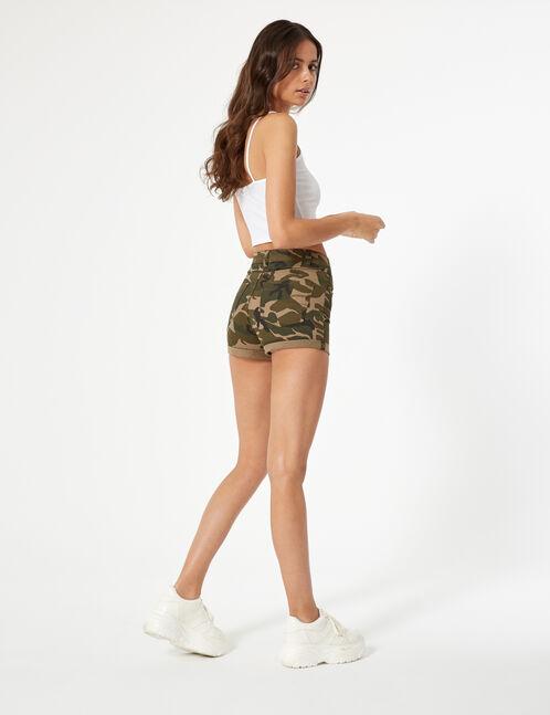 short skinny taille haute camouflage kaki