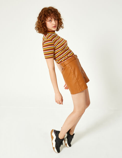 Camel buttoned skirt with belt