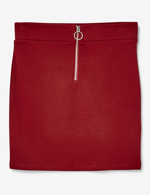 Burgundy zipped tube skirt