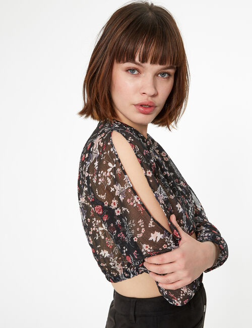 Black floral wrap blouse