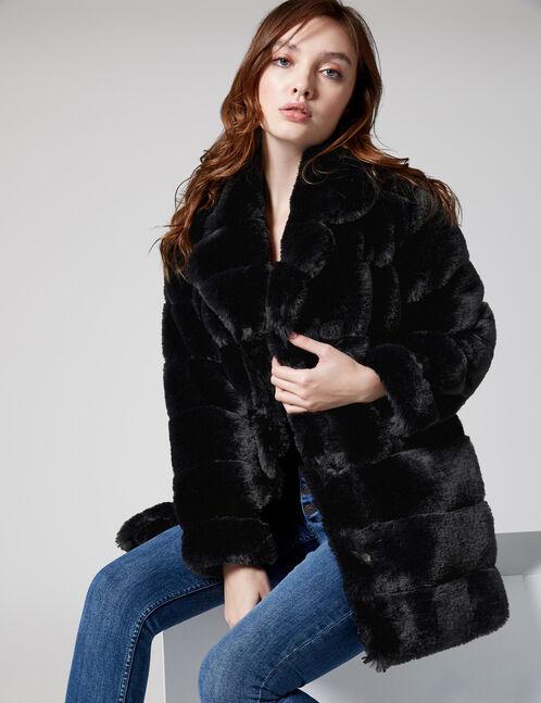 veste longue imitation fourrure noire femme jennyfer