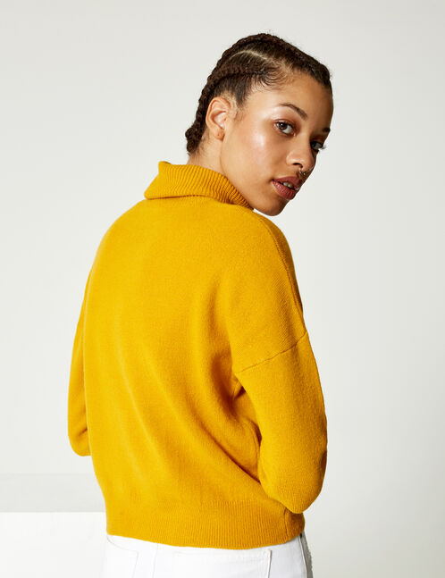 pull col roulé ocre
