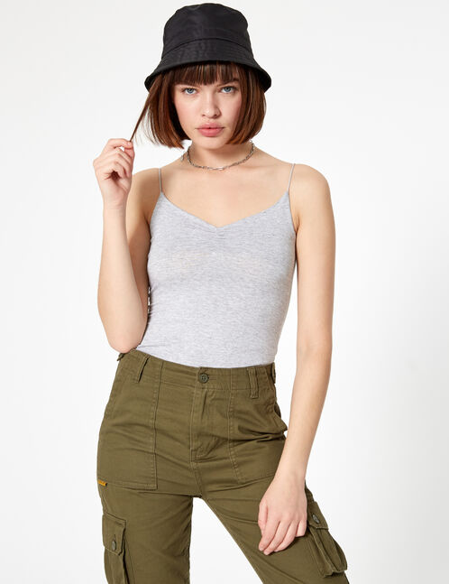 Grey marl camisole with gathered detail