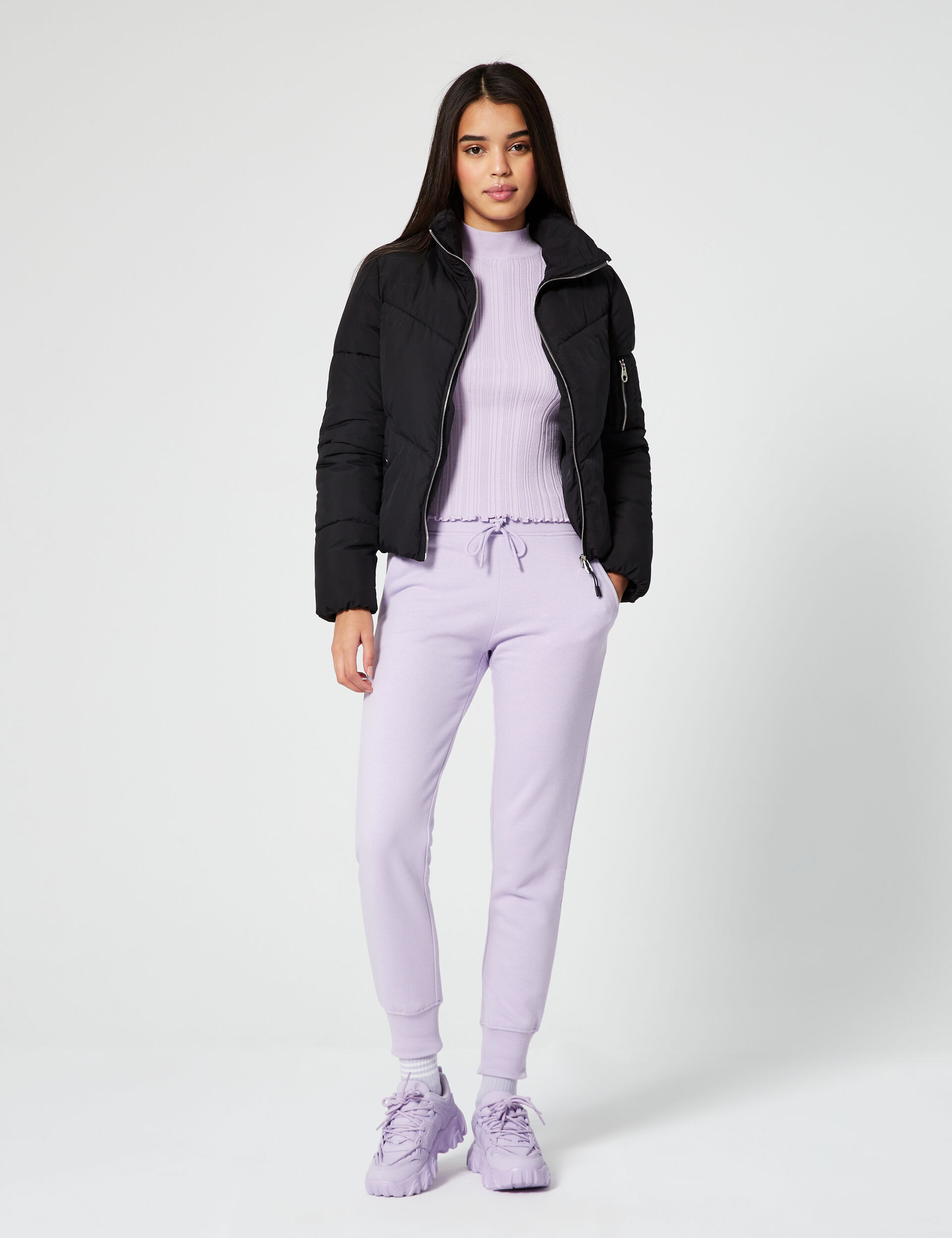 High-necked ribbed jumper